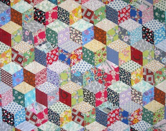 Twin Size Quilt - 70 x 92 - Vintage Look 1930s Tumbling Blocks Quilt - Reproduction Feed Sack Fabric - Patchwork Scrap Quilt