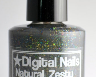 Natural, Zesty Enterprise: a gray jelly loaded with mostly green multichrome flakies, inspired by Maude Lebowski, by Digital Nails