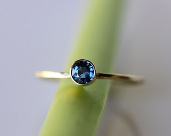 Blue Sapphire 14K Gold Ring, Gemstone Ring, Stacking Ring, Recycled Gold Ring, Sapphire Gold Ring - Custom Made For You