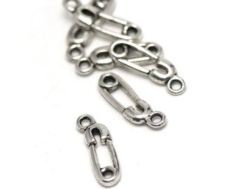 """10 charms """"baby pin"""", 19 x 6 mm, silver, A 028"""