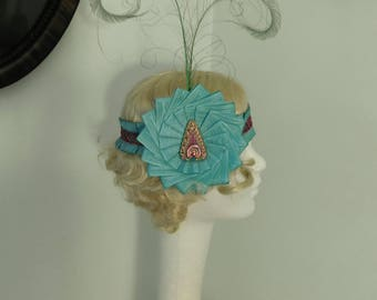 Aqua Flapper Burlesque Headpiece Roaring 20's Feathers Moire Ribbon
