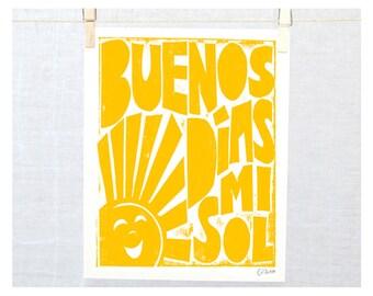 Cuarto del Bebé, Regalo Bebé, Buenos Dias, Spanish, Gift for baby, Nursery Decor, Children's Wall Art, Good Morning, Good Morning Sunshine