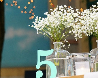 Wedding table number - Turquoise - Wooden table numbers