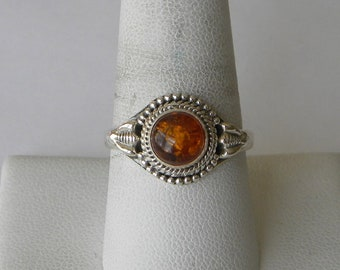 Amber Ring Handmade Ring Yellow Orange 7mm Natural Baltic Amber Gemstone Sterling Silver Ring Size 9 1/2 Baltic Amber Jewelry Free Shipping