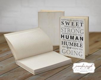 God Keeps You Going 5x7 Hardback Bound Journal -Inspirational, Word Art -Black White