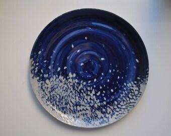Cobalt Blue Hand Carved Ceramics Plate