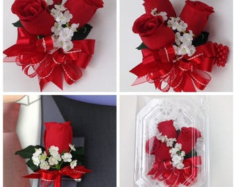 New Artificial Red Rose Corsage, Red Rose Mother's Corsage, Red Boutonniere