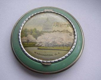 Vintage Powder Compact, mirror, sifter & puff - Washington DC souvenir