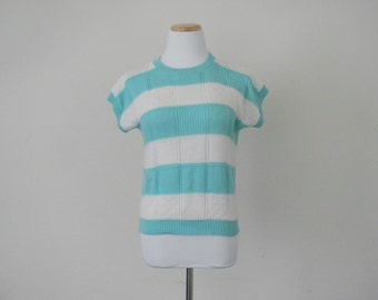 FREE usa SHIPPING Vintage ladies pullover knit striped blouse short sleeves scoop neck size m