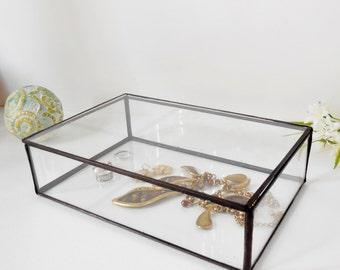 "Glass Box 8"" x 9"" x 2"" Glass Display Box Glass Jewelry Box Wedding Display Box   Clear Glass Jewelry Box by jacquiesummer"
