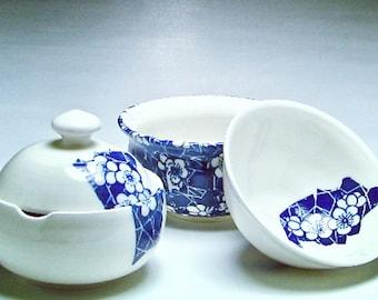 Hand thrown Gaiwan, Asian Ceramic Teapot, Tea for two, Shiboridashi tea set, Japanese tea set, Porcelain, Green tea bowl, Gift for tea lover