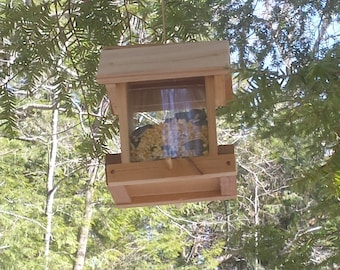 Cedar Bird Feeder- usable model craft family project -made from recycled cedar-free shipping