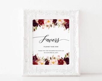 Printable Wedding Favor Sign, Burgundy Floral Favors Sign, Watercolor Burgundy pink roses Wedding Sign, 2 sizes JPG Instant Download #101