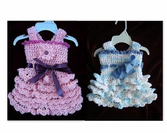 CROCHET PATTERN, crochet Baby Dress - Girls Dress Flapper Style, Lacy Ruffles  - newborn to adult  - # 583 , jumper or sundress girl's dress