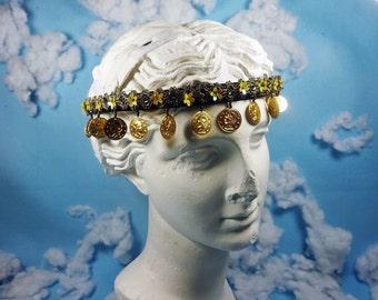Boho gypsy Coin Headband, Embroidered Flower Headband, womens flower headband, floral headband, bridesmaid headband, boho Coin headpiece