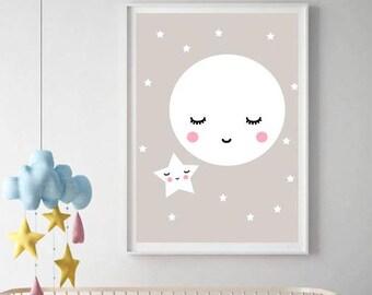 Baby nursery print, SLEEPY MOON Grey Nursery Wall Art  little star Neutral Nursery Kids Room Decor Nursery Wall Art Gender Neutral Baby Gift