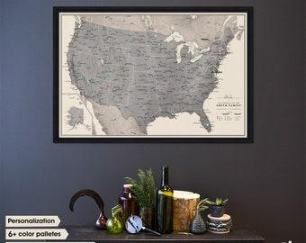 United States travel map / Push Pin travel map / USA travel map push pin / Personalized travel map / Framed map / Couples Wedding Gift