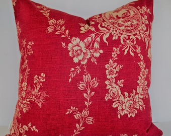 French Country Toile Pillow, Waverly Floral Red Waverly Country House Toile Red BOTH SIDES 0