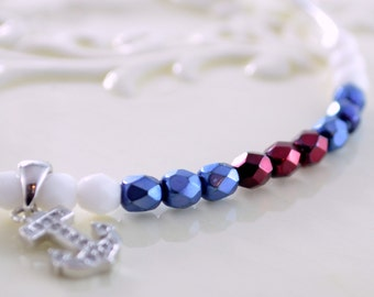 Nautical Jewelry, Silver Plated Bangle Bracelet, Navy Blue Red White Czech Glass Beads, Cubic Zirconia Anchor Charm