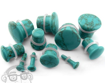 """Howlite Turquoise Stone Plugs - Single Flare (8G - 5/8"""") Sold In Pairs - New!"""