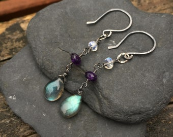 Labradorite, Amethyst, Rainbow Moonstone - Gemstone Dangle Earrings - Oxidized Dark Sterling Silver - Handmade Wirewrap Jewelry Blue Purple