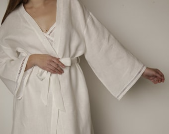 Linen Short Bath Robe/ Night Gown With Laces at Sleeves and Bottom/ Spa Robe Luxury/ Flax Robe Belted