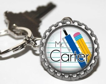 ON SALE - Teacher Gift, Gifts for Teachers, Teacher Keychain, Teacher Appreciation, Thank You Gift, Personalized, Teacher, Charm, Keyring