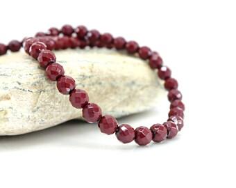Faceted Hematite - Diam 10 beads. 8 mm - dark red color