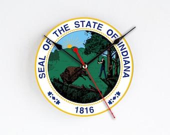 Indiana State Wall Clock Green Round Wall Decor Home Decor USA States Rare Gift Handmade Clock Gift for Hostess Houseware