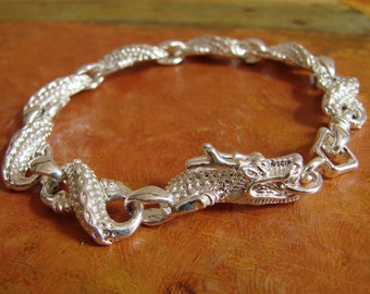 Vintage Dragon Infinity Bracelet, 1990s, Shiny Silver, Made in England, Chinese Dragon Bracelet, Exotic