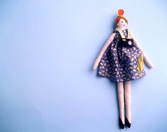 Cloth Art Doll, Red Hair with Camera