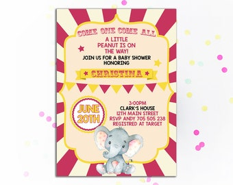 Circus Baby shower invitation Girl Little Peanut Elephant Pink Baby shower invitations Carnival Circus Tent Circus Themed Party Printable