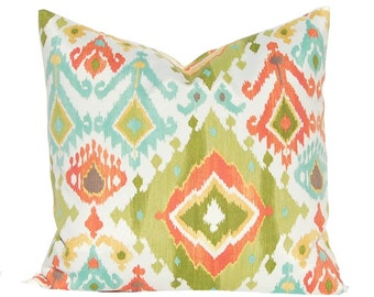 Outdoor Pillow Covers - Lime Green Ikat with Gold, Coral and Turquoise - Garden Decor - 16 x 16 Pillow - Polyester Outdoor Fabric