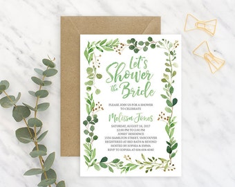 Green Bridal Shower Invitation, Greenery Bridal Shower Invitation, Rustic Bridal Shower Invitation, Printable Bridal Shower Invitation