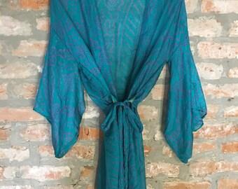 Blue Sari Kimono