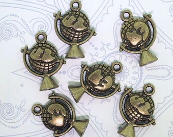 6 Globe Charms Antique Bronze Tone 2 Sided - BC131