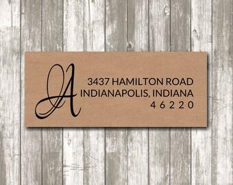 Return address label - Initial Label,  custom- 2 5/8 x 1 inch rectangular, brown kraft label, sticker, wedding announcements - SET OF 30