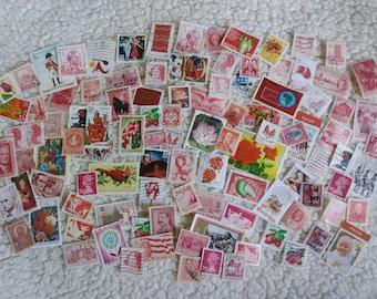 100 Worldwide Used Vintage Postage Stamps. Red, Green, Blue, Brown, Pink/ Purple, Orange