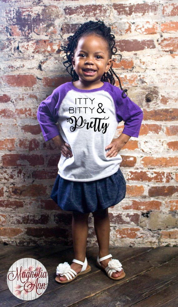 Itty Bitty and Pretty, Toddler Baseball Raglan T-shirt in 6 Colors in Sizes 2T-5/6