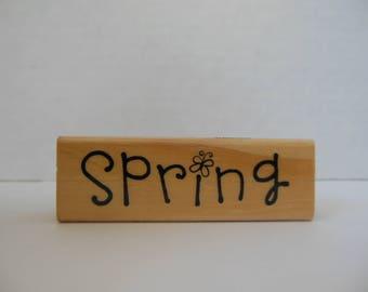 Spring Stamp - Wood Mounted Rubber Stamp