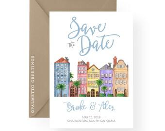 Rainbow Row Charleston South Carolina Watercolor Save the Date, Wedding Lowcountry South Carolina, Destination Wedding Invites