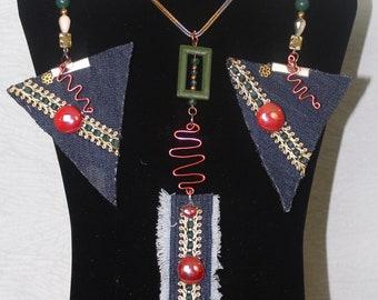Handmade denim necklace wired boho style 3pc jewelly set