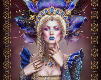 Fantasy Art Character Portrait Print woman Queen Roethaba imaginative realism League of Elder PRINT ON CANVAS