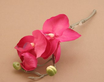 Bright Pink Phalaenopsis or Butterfly Orchid Blossoms Pick- silk flowers- artificial flowers