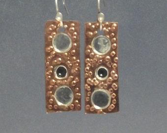Copper and Silver Dot Mixed Metal Earrings, black Onyx earrings, textured copper, hanging earring, drop earring, dangle earrings