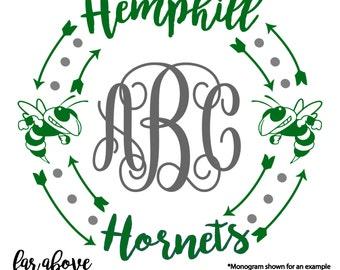 Hemphill Hornets SVG, DXF, png, jpg digital cut file for Silhouette or Cricut