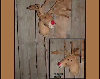 Primitive Folk Art Red nosed Reindeer instant dowload sewing pattern HAFAIR faap OFG 377