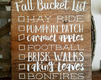 Fall Bucket List Wood Sign