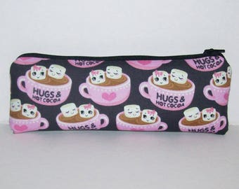 """Pipe Pouch, Hot Cocoa Bag, Hugs, Girlfriend Gift, Pipe Case, Pipe Bag, Cute Pouch, Padded Pouch, Zipper Pouch, Vape Pen Bag - 7.5"""" LARGE"""