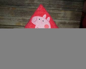 Custom Embroidered Hooded Towel- Peppa Pig Inspired